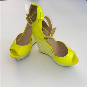ALDO Neon Yellow Wedges
